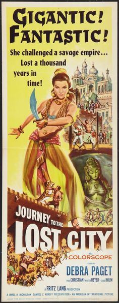 Journey to the Lost City (1960).   An architect travels to the remote city of Eschnapur to oversee some work being done at the bequest of the local Maharajah. Along the way the architect meets and falls in love with a beautiful temple-dancer. The Maharajah also loves this dancer and plans to marry her.  Trouble follows!  www.ephemeritor.com