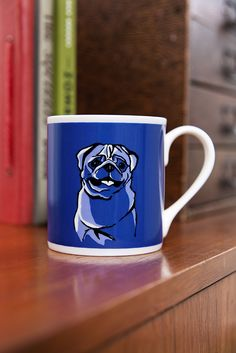 ©TANNEN_BROWN - Fine Bone China, Hand Printed Mug - Pug