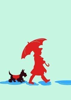 Scotties  Scottish terrier walking in the rain art poster