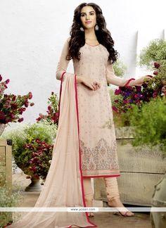 Impeccable Pink Resham Work Georgette Churidar Salwar Suit Model: YOS8415