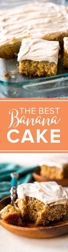 This is the BEST BANANA CAKE recipe! Rave reviews, super moist, easy, and silky cream cheese frosting! http://sallysbakingaddiction.com/2016/08/10/best-banana-cake/