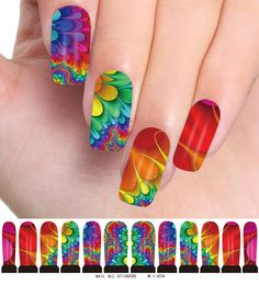 Fashion Nail Decals Temporary Nailart Tatoos Nail Art Water Transfer Stickers for Ladies Girls Nail Decorations - Multiple Coloured Patterns