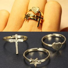 Sale 22% (1.99$) - Star Heart Cross Knuckle Stacking Midi Mid Finger Rings Gold Plated