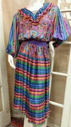 Vintage Diane Freis Sheer Bright Print Georgette Polyester Pleated Skirt Dress #DianeFreis