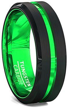 Mens Wedding Band Black 8mm Acid Green Tungsten Ring Groove Beveled Edge Comfort Fit (7.5)