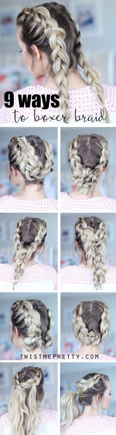 9 hairstyles that start with the trendy boxer braids!  SO CUTE!!!!