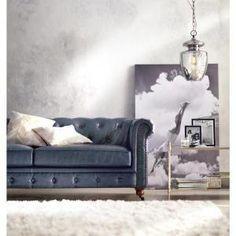 Home Decorators Collection Gordon Blue Leather Sofa 0849400310