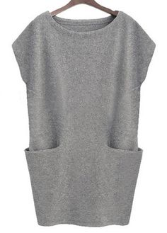 Vogue Short Sleeve Round Neck Grey Dress