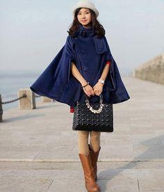 Blue Women's Coat Bat Sleeve Coat Warm Winter by clothingshow
