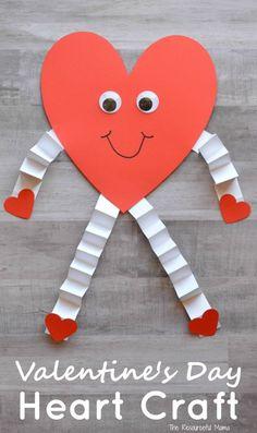 Valentine's Day Heart Craft for Kids - The Resourceful Mama Nick Valentine, Kinder Valentines, Valentine Crafts For Kids, Valentines Day Hearts, Valentines Diy, Printable Valentine, Valentine Wreath, Holiday Crafts, Valentine's Day Crafts For Kids