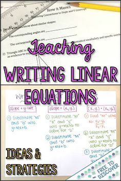 Are you teaching your Algebra 1 students to write linear equations? This block post is full of ideas to help students become fluent when writing linear equations. Many of the ideas are low-prep, too! Teaching Secondary, Secondary Math, Secondary Resources, Maths Resources, Teaching Writing, Student Teaching, Teaching Ideas, Algebra Activities, Math Math
