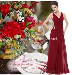 This dress is beautiful A classic feminine full length chiffon maxi occasion wedding bridesmaid dress in a beautiful claret red cranberry colour