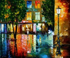 paintings of citiews | CITY MAGIC original oil on canvas painting by Leonidafremov   The color and reflection is marvelous