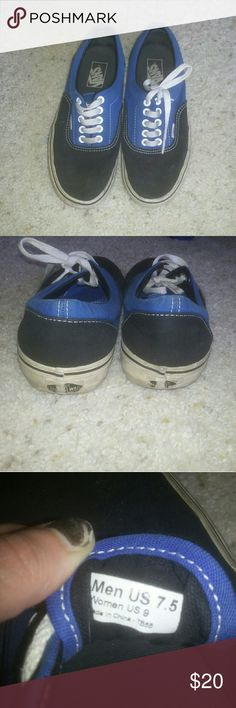 Blue & Black Vans 7.5 in mens & size 9 in womens. Used condition but still have life left. Needs a good wash in the washing machine but otherwise good condition. Vans Shoes Sneakers
