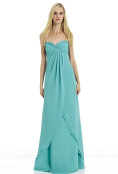 Brides.com: . Blue Bridesmaid Dress: Bill Levkoff. Floor-length sweetheart dress, style 576, Bill Levkoff  See more Bill Levkoff bridesmaid dresses.