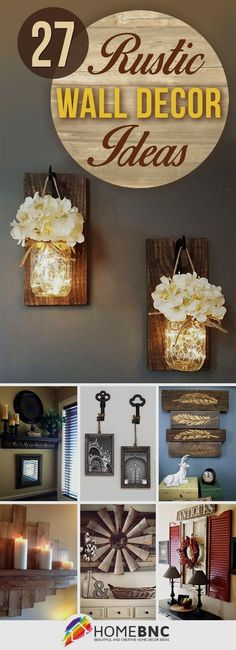 27 Rustic Wall Decor Ideas to Turn Shabby into Fabulous Love the mason jar lights or the keys with picture frames Rustic Walls, Rustic Wall Decor, Country Decor, Kitchen Wall Decorations, Rustic Livingroom Ideas, Wall Decor For Kitchen, Christmas Wall Decorations, Rustic Living Room Decor, Rustic Wall Lighting