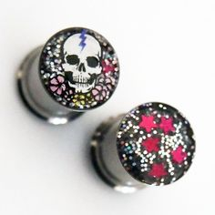 Skull and Flowers Night Sky Reversible Plugs