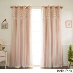 Aurora Home Floral Lace Overlay Thermal Insulated Blackout Grommet Top Curtain Panel Pair (Indie Pink - 84inch), Size 84 Inches