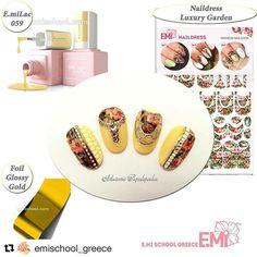 """✨ Petite idée de Nail Design by Ekaterina Miroshnichenko afin d'égayer les courtes journées automnales... ➡️ Produits utilisés : #emilac Nail Prep Aid, #emilac Ultrabond, #emilac Base Gel, #emilac Canotier 059, #emilac Top Gel Tackless, NailDress """"Luxury Garden"""", #glossemi Gold Casting, Foil Glossy Gold, #empasta Yellow Corn et White Rafinad,... 🎀 Produits en vente au SALON """"BEAUTÉ SÉLECTION"""" de Lyon les 20 et 21 NOVEMBRE 2016 (stand E.Mi No C10) ! ☎️ Produits également en vente à E.Mi Schoo... Nail Prep, Jasmine Nails, Sculpted Gel Nails, School Nails, Summer Nails, Fall Nails, Chrome Nails, Beautiful Nail Designs, Flower Nails"""
