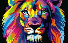 colorful lion painting - Google Search