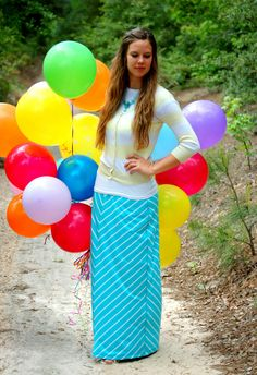 balloon photo shoot  spring chevron maxi skirt outfit creations by callie