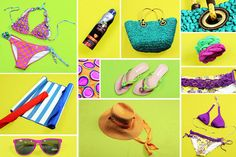 Beach <3 ¡El outfit para la playa!  #bikini #sandals #hat #sunglasses #colors