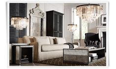 Love this Living Room!  Mirror.  Chandelier.  Tables.  Love it all.  Rooms | Restoration Hardware