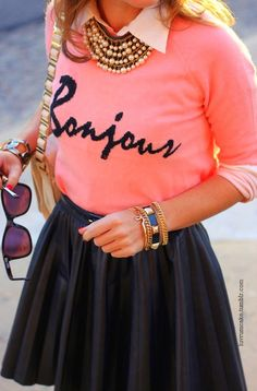 Skater skirt, sweater over collard top, chunky Jewlrey, elegant purse!!