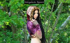 Hippie Patchwork Jacket Brown and Burgundy by IntergalacticApparel