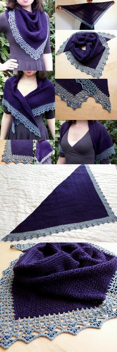 Atlantic Lace Shawl - with beaded edge.  Free crochet pattern from Make My Day Creative •✿•Teresa Restegui http://www.pinterest.com/teretegui/•✿•