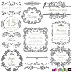 DOWNLOAD INSTANTLY Ornament Vintage Wedding Frame by SasiyaDesigns, $5.00