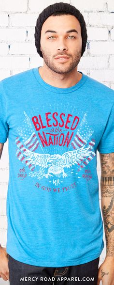 For love of God and country!  Patriotic Christian t-shirt for men or women. Uniquely handcrafted Psalm 33:12 scripture. Gloriously comfy triblend for a best fit, best feel Christian tee. Free Shipping USA.