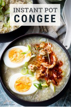 Instant Pot Chicken and Rice Congee Easy Recipe for Instant Pot Congee. This is a chicken and rice porridge that is a real comfort food. Make this easy recipe for a Chinese meal. Great for breakfast, but hearty enough for lunch and dinner. Rice Recipes, Brunch Recipes, Asian Recipes, Breakfast Recipes, Cooking Recipes, Healthy Recipes, Chinese Recipes, Japanese Recipes, Breakfast Dishes