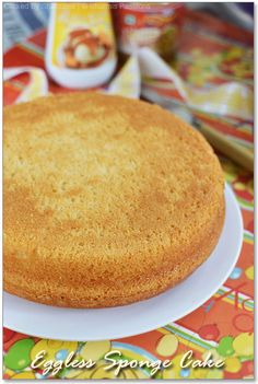 Eggless Vanilla Sponge Cake Recipe - increase sugar by atleast cup to the one shown in ingredients Eggless Desserts, Eggless Recipes, Eggless Baking, Vegan Desserts, Dairy Recipes, Baking Desserts, Baking Recipes, Tea Cakes, Cupcake Cakes