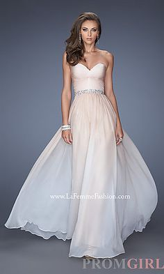 Long Ruched Strapless Sweetheart La Femme Dress at PromGirl.com A-Line