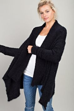 52b5470d58 Black Plush Popcorn Cardigan Sweater from Divine Couture Boutique Black  Cardigan