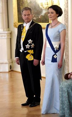 President of Finland Sauli Niinistö attended with his wife Jenni Haukio who looked chic in an ice blue gown.