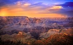 Sunset on the Stormy Grand Canyon - Taken at Grand Canyon National Park, Arizona