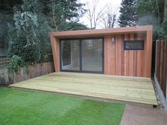 Pinnacle garden room with cedar cladding and graphite sliding door set, from (inc. Garden Huts, Garden Lodge, Garden Cabins, Contemporary Sheds, Contemporary Garden Rooms, Backyard Studio, Backyard Sheds, Garden Office Shed, Tiny Little Houses