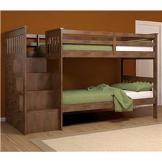 Storage bunkbed with steps instead of a ladder. Could be even more storage with a sliding drawer underneath the bottom.