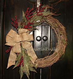 The Christmas Cheer Grapevine Wreath, Winter Wreath, Front Door Wreath, Primitive Wreath by BlueMountainBurlap on Etsy by toni