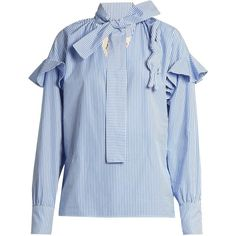 A.W.A.K.E. Ruffled striped cotton blouse (1.350 BRL) ❤ liked on Polyvore featuring tops, blouses, blue white, ruffle blouses, cotton shirts, striped shirt, shirt blouse and blue shirt