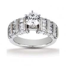 14k White Gold Diamond Accented Engagement Ring Containing 1.5 Carats Of Diamonds In Hi Color And Si1-si2 Clarity