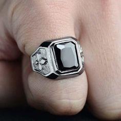 1 Buc. Inel pentru Barbati, Retro, din Titan, cu Onix Negru Rings For Men, Barbie, Silver Rings, Jewelry, Men Rings, Jewlery, Bijoux, Schmuck, Jewerly