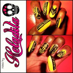 Nails By Heladita © - Mellow Yellow Aztec