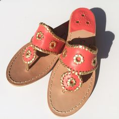 Jack Rogers Navajo Fire Coral Gold Jack Rogers Whipstitched Flip Flop • Nantucket Gold • Display shoes • Includes box • No trades Jack Rogers Shoes Sandals