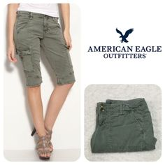 New A.E Green Bermuda Cargo Shorts Green cargo shorts •••{Stains on both legs of shorts *See pics 3 & 4}•••• price reflects. ANIMALS LIVE HERE •{May not get every single hair off item}• Smoke Free Home No lowball offers  {Example: $30, but you offer $15} Drama / Rude Free  No More Holds Don't ask me to use Mercari Prices are Firm {Posh Takes 20%} ❓Any Questions, Please ask me Thank You For Shopping my closet American Eagle Outfitters Shorts Cargos