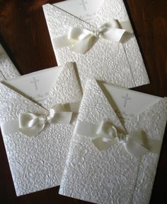 baptism white emboss paper beautiful elegant hand crafted deckle edge religious