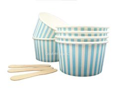 6 Blue Stripe Paper Dessert ICE Cream Cups Vintage Wooden Spoons Kids Party | eBay