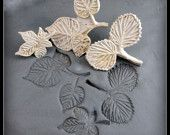 Bisque Stamp  Hand carved leaves  for stonware clay, polymer clay, PMC metal clay, food  ( 0043)
